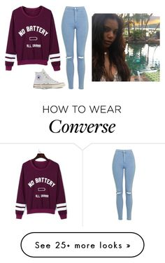 """""""Bored Xx Evelyn"""" by madxhatt3r on Polyvore featuring Topshop, WithChic and Converse"""