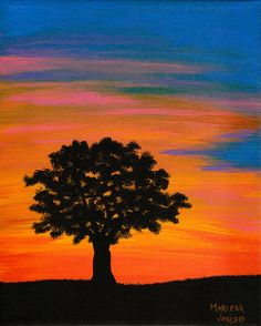 Oak Tree at Sunset 8x10 Acrylic Painting on by AcrylicsAndBeyond, $25.00