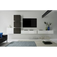 Cube Wall Unit Composition 7 by LC Mobili, Italy Tv Wall Cabinets, Etagere Design, Modern Wall Units, Muebles Living, Internal Design, Tv Wall Decor, Ikea Living Room, Tv Wall Design, Tv In Bedroom