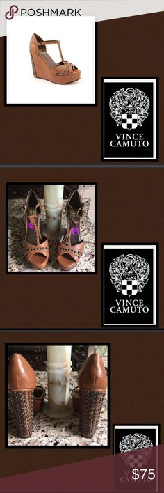 """🆕Vince Camuto🎀Simonas🎀Leather Wedge Summer loving will happen so fast🎀 guaranteed to have a blast strutting these sexy studded leather T strap wedges🎀studs adore the 5"""" leather wedge heel🎀the T strap🎀and across the toes🎀super sexy 🎀flirty and comfortable🎀SOLD OUT☺️🎀8 1/2 Vince Camuto Shoes Wedges"""