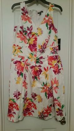 NWT Chaps Women's Size 14 Multicolor Floral Fit and Flare Pleated Dress