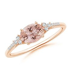Valentine's Offer - Horizontally Set Oval Morganite Solitaire Ring with Trio Diamond Accents Morganite) - rose-gold 3 Wedding Jewelry, Wedding Rings, Bridal Rings, Do It Yourself Fashion, Valentines Jewelry, Ring Verlobung, Gold Ring, Ring Cake, Bracelets