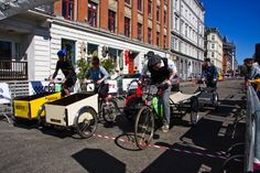 There are around 40,000 cargo bikes in use each day in Greater Copenhagen and they are the Copenhagen version of the SUV, used for transporting children and goods. 25% of all families with two or more children have a cargo bike in the City of Copenhagen.