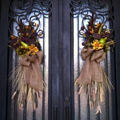 Fall swags I made for my front door.