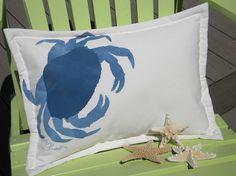 Crab beach Dungeness lumbar pillow painted indoor outdoor seashore coastal crustacean west coast cottage cabin  deck patio hammock. $38.00, via Etsy.