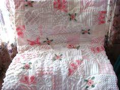 Pink Cotton Candy Vintage Chenille Quilt  by AlorasAdorables, $95.50