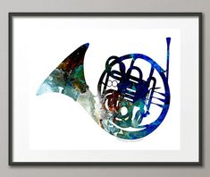 Fine Art Print Colorful French Horn Music by NYoriginalpaintings #frenchhorn #schoolband #marchingband #musicart #instruments #rocker #concert #artprints #fantasy #abstract #mancave #colorful #homedecor #art  #acrylic #streetartist #contemporary #modern #unique #musthave #giftideas #blueart