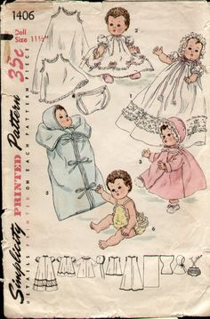 Simplicity 1406 Vintage 1950s 11.5 inch Baby Doll Clothes Pattern Betsy Wetsy and Tiny Tears