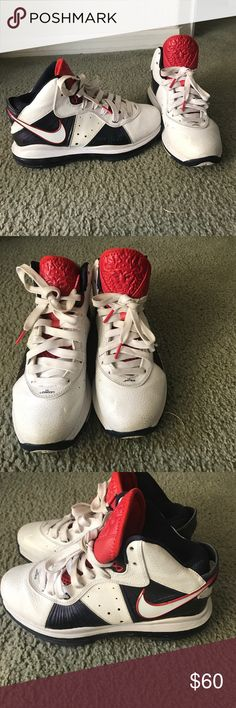Nike Lebron James basketball sneakers In excellent condition. Just a little dirt that can wipe off. Laces have a bit of dirt as pictured. Otherwise perfect! Nike Shoes Sneakers