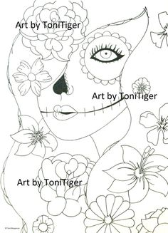 Instant Digital Download Coloring Page Sugar Skull Girl with Flowers in Her Hair, Original Day of the Dead Art, Dia De Los Muertos