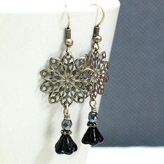 Black Flower Czech Glass Bead Earrings  by carolinascreations, $5.00