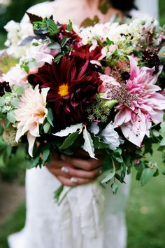 Late August bridal bouquet with oxblood and blush dahlias grown and designed by Love 'n Fresh Flowers; photo by Olivia Rae James.