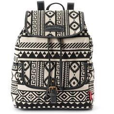 Unionbay Aztec Buckle Backpack (Black) ($25) ❤ liked on Polyvore featuring bags, backpacks, backpack, bolsas, black, black backpack, print backpacks, black knapsack and black drawstring backpack