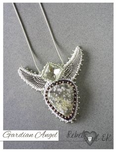 Artistic angel seed bead pendant winged necklace by RebelSoulEK