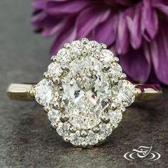 TWO TONE OVAL DIAMOND HALO ENGAGEMENT RING #diamondhaloring