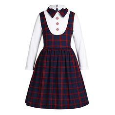 iEFiEL Kids Girls Dress School Uniform Long Sleeve Plaid Dress Birthday Party School Casual - Set Include: Dress Condition: New with tag Material: Polyester, Cotton Color: Navy Blue(as pictures show) Dress Length: Knee Length Tag No. Kids Dress Wear, Dresses Kids Girl, Kids Outfits, School Uniform Fashion, School Uniform Girls, Girls School, School Children, Smocked Baby Dresses, Uniform Dress
