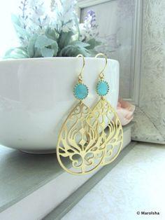 A Matte Gold Plated Modern Peacock Earrings. Bridesmaid Gifts. Summer Wedding. Modern Everyday Earrings.. $23.50, via Etsy.