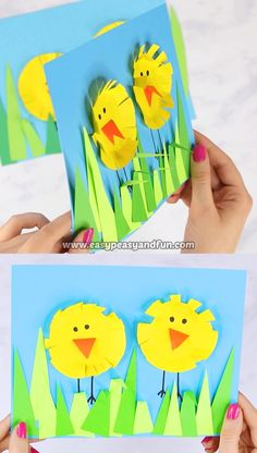 This Paper Circle Easter Chick Craft is a perfect Easter art paper collage to make with your preschool, kindergarten or first grade students. # Easy Crafts kindergarten Paper Circle Easter Chick Craft - Easy Peasy and Fun Easy Easter Crafts, Spring Crafts For Kids, Easter Art, Bunny Crafts, Easter Crafts For Kids, Toddler Crafts, Flower Crafts, Preschool Crafts, Art For Kids