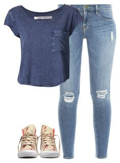 """""""Unbenannt #3390"""" by mund-tot ❤ liked on Polyvore featuring Frame Denim, Converse, Raquel Allegra, women's clothing, women, female, woman, misses and juniors"""
