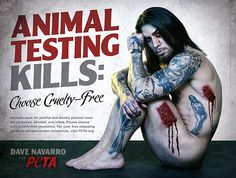 #Celeb #Activism Rocker Dave Navarro Gets Naked For PETA In Shocking New Cruelty-Free Cosmetics Ad.