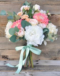 Wedding Bouquet Coral and Peach and Pink by Hollysflowershoppe