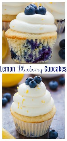 Lemon Blueberry Cupcakes are moist, fluffy, and exploding with juicy blueberries! A light lemon flavor makes them irresistible! Lemon Blueberry Cupcakes are moist, fluffy, and exploding with juicy blueberries! A light lemon flavor makes them irresistible! No Bake Desserts, Just Desserts, Delicious Desserts, Dessert Recipes, Yummy Food, Healthy Food, Cheesecake Desserts, Baking Desserts, Tasty