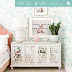 Mirrored Buffet $597 A whimsical wall mural paired with our mirrored buffet make for the perfect little girl's room! Find pieces durable and versatile enough to grow with your little one at Nadeau 💫 📷: @j.cathell Little Girl Rooms, Little Girls, Mirror Buffet, Wall Murals, Whimsical, Infant Girl Rooms, Wall Paintings, Baby Girls, Mural Painting