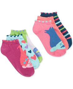 Colorful Trolls imbue these casual socks with infectious positive energy that's sure to keep your feet happy and your toes tapping. | Polyester/spandex | Machine washable | Imported | Contains 6 pairs
