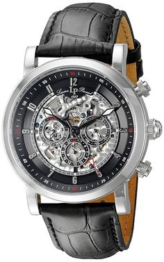Lucien Piccard Men's LP-40010A-01 Sultan Stainless Steel Watch with Black Leather Band ** For more information, visit image link.