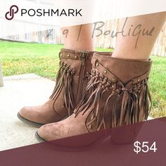 """🎉 NEW ARRIVAL 🎉 Dallas Fringe Bootie Step into Fall with these gorgeous fringe faux suede booties. Color : Brown. These fit true to size. I'm a size 8 in shoes and I'm modeling the size 8 in the above photo. Heel height: 2.5"""" ❌ PRICE FIRM UNLESS BUNDLED ❌ NO OFFERS PLEASE! TK1440243 2 a T Boutique  Shoes Ankle Boots & Booties"""