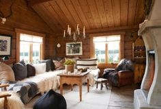 Discover recipes, home ideas, style inspiration and other ideas to try. Stone Cottages, Cabins And Cottages, Scandinavian Cabin, Forest Cottage, Fairytale Cottage, Cottage Living Rooms, Log Cabin Homes, Cottage Interiors, Cottage Design