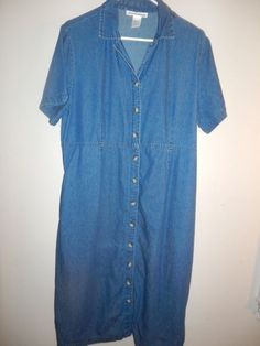 Womens jeans dress size L with XL measure very comfy 100% cotton blue casual #Serengeticatalogcom #jeansdress #Casual
