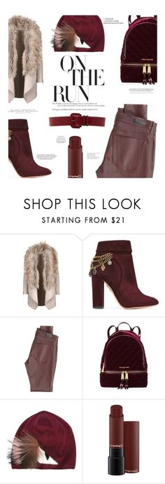 """""""It's burgundy time!"""" by chalsouv ❤ liked on Polyvore featuring Aquazzura, AG Adriano Goldschmied, MICHAEL Michael Kors, Fendi, H&M, Steve Madden and burgundy"""