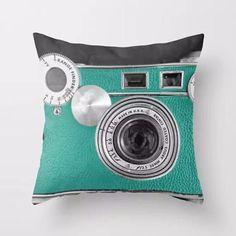 Teal Camera Throw Pillow, Accent Cushion Cover for Unique, Artsy Decor #homedecorideas