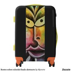 Rostro sobre colorido fondo abstracto. Producto disponible en tienda Zazzle. Accesorios, moda. Product available in Zazzle store. Fashion Accessories. Regalos, Gifts. #maleta #bagage #equipaje #face #rostro