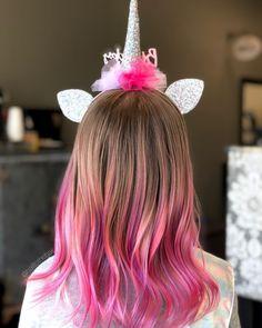 Unicorn mermaid hair for little girls. Hair Dye For Kids, Kids Hair Color, Girl Hair Colors, Hair Color Pink, Cool Hair Color, Purple Hair Tips, Pink Hair Streaks, Pink Ombre Hair, Colored Hair Tips
