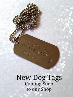 Shiny dog tag necklaces are coming soon to justByou's Etsy shop!