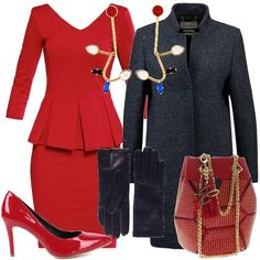 Un abito con scollo a V, rosso con peplo, corto, a tubino. Lo copre il cappotto blu, corto a fantasia melange. Arricchiscono il tutto gli orecchini fatti a mano e placcati con oro 24 kt, con Swarovski, la borsa rossa con borchie e tracolla color oro, le eleganti décolleté rosse, con tacco a spillo e i guanti in pelle blu.