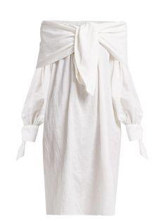 Merlette - Off-the-shoulder Tumbled Cotton-blend Midi Dress - Womens - White Stella Mccartney Lingerie, Beach Wear Dresses, White Midi Dress, Off The Shoulder, Beachwear, Women Wear, Clothes For Women, Cotton, How To Wear