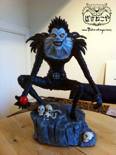 Ryuk.  based on the character Ryuk from the Manga/Anime Death Note.  Sculpted in air dry clay.