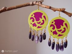 Purple earrings | Cotton paper and amethyst | Paper Leaf jewellery design