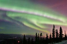 """The Aurora Borealis, Running Wild Over Fairbanks, Ester Dome, Fairbanks North Star Borough, Alaska"""