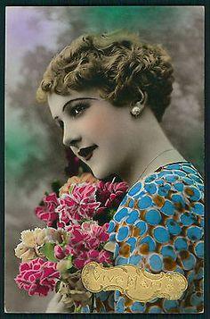 Pretty Deco Romantic Lady Woman Glamour Tinted Original Old 1920s Photo Postcard | eBay