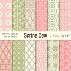 Pink Green Digital Paper SPRING DEW Retro froral by DigitalStories, €2.60