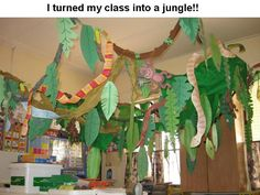 Rainforest Jungle – in middle school our entire grade level did this, but on a larger level. All the students created things to decorate an entire room. Seems silly, but I still remember the feeling of being surrounded by 'plants' and 'animals' and the aw  | followpics.co
