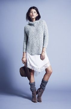 Free People Turtleneck Pullover & Lace Trim Slipdress  available at #Nordstrom