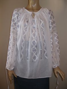 Hand embroidered Romanian ethnic blouse top - gray silk - size L by RealRomania on Etsy White Silk, Grey And White, Dress Drawing, Folk Costume, Cross Stitch Flowers, Peasant Blouse, Silk Thread, Collar And Cuff, Sewing Hacks