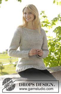 """DROPS raglánový pulovr s pružnými lemy pletený shora dolů z příze """"Eskimo"""". Velikost: S-XXXL. ~ DROPS Design"""