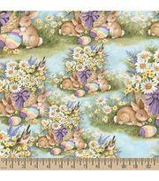 Susan Winget Easter Fabric-Garden Bunnies Blue,