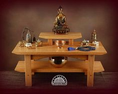 Exclusive list for Lisa.Floor style solid oak meditation altar with a shelf and removable pedestal. Meditation Stool, Meditation Corner, Buddhist Meditation, Meditation Space, Meditation Meaning, Meditation Scripts, Meditation Garden, Easy Meditation, Solid Oak Table
